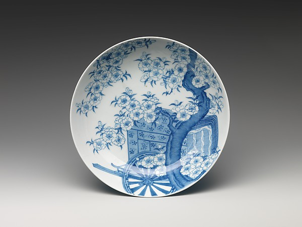 Dish with Court Carriage beneath a Cherry Tree