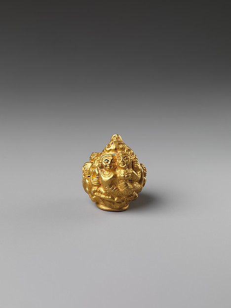 Rod Finial Clip with Deity Surrounded By  Sekti Motif