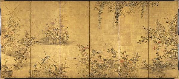 花野菜四季図屏風<br/>Flowering Plants and Vegetables of the Four Seasons