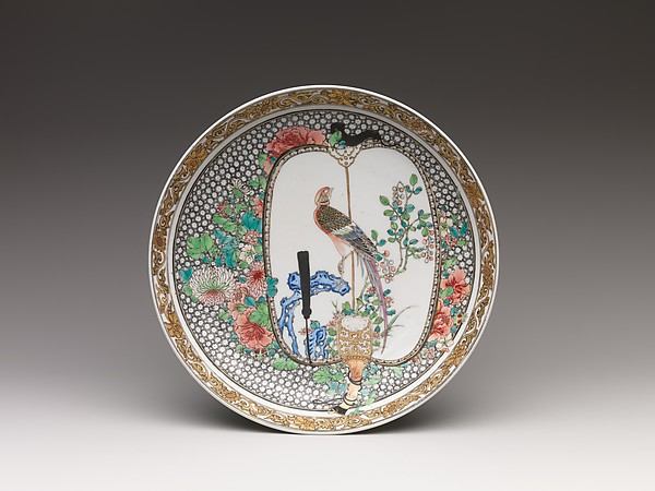 Dish with Birds and Flowers on Fan