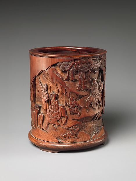 Brush Holder with Travelers in a Landscape