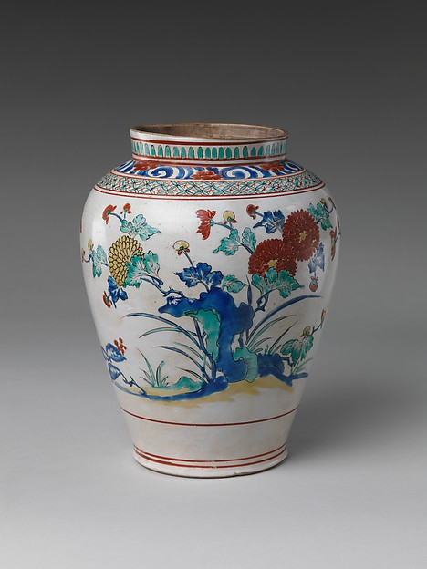 Jar with Chrysanthemums and Rocks