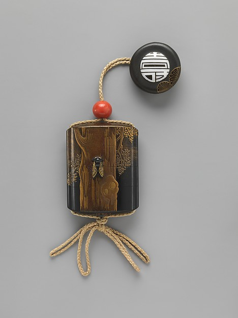 Case (Inrō) with Design of Cicada on Tree Trunk