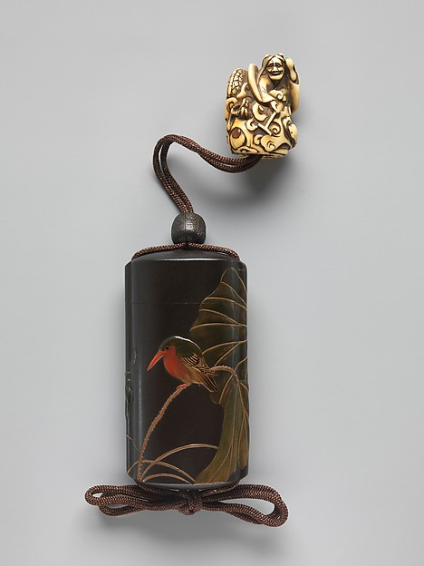 Case (Inrō) with Design of Lotus (obverse); Lotus and Bird (reverse)