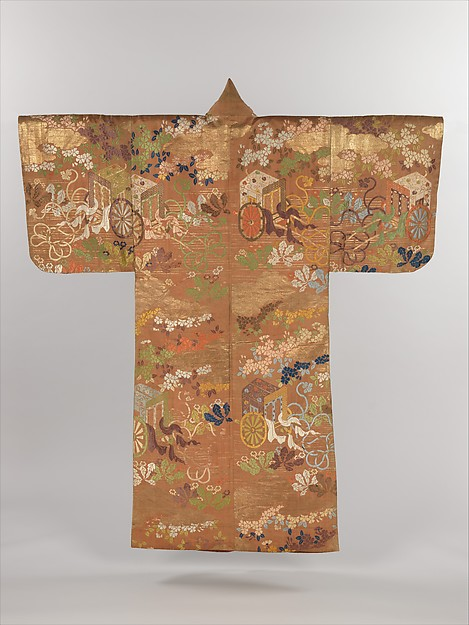 紅地御所車桜蒲公英模様唐織<br/>Noh Costume (Karaori) with Court Carriages and Cherry Blossoms