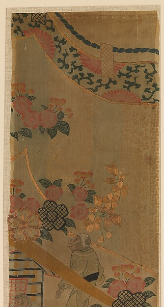Piece from a Robe (Kosode) with Cherry Blossoms and Monkeys with Palanquin