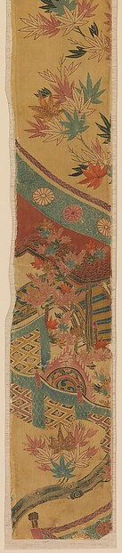 Piece from a Robe (Kosode) with Maple Leaves, Curtain, and Large Drum