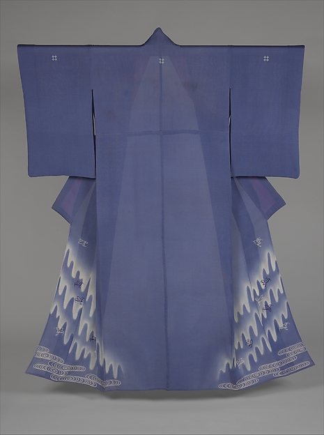 Summer Kimono with Pattern of Plovers in Flight