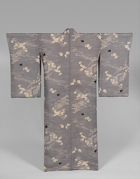 Summer Kimono with Design of Plovers, Waves, Chinese Bellflowers, Pinks, Pines, Carriages, and Fences