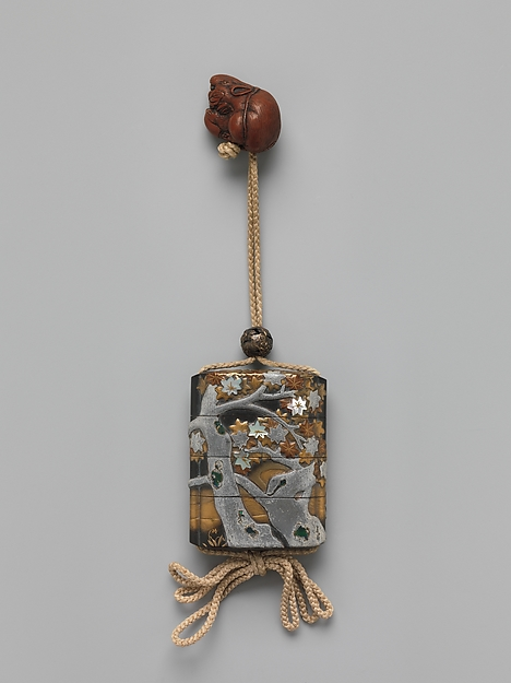 Case (Inrō) with Design of Maple Tree and Stream