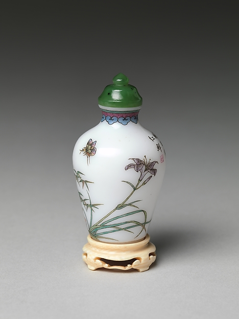 Snuff Bottle with Flowers and Rocks