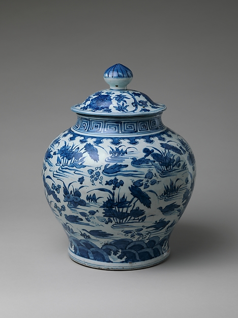 Jar with Ducks in Lotus Pond