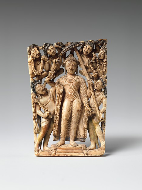 Panel from a Portable Shrine: The Descent of the Buddha from Trayastrimsha Heaven