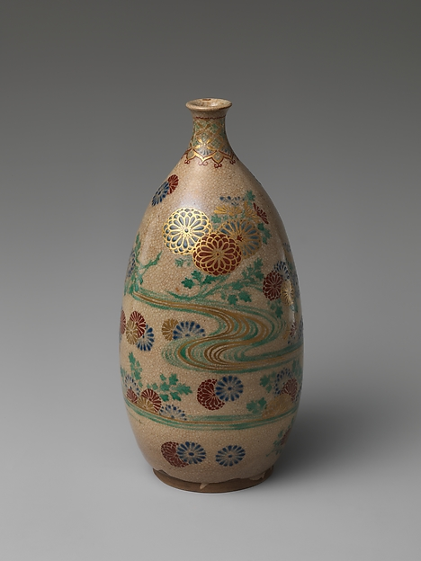 Ninsei-style Sake Bottle with Floral Patterning