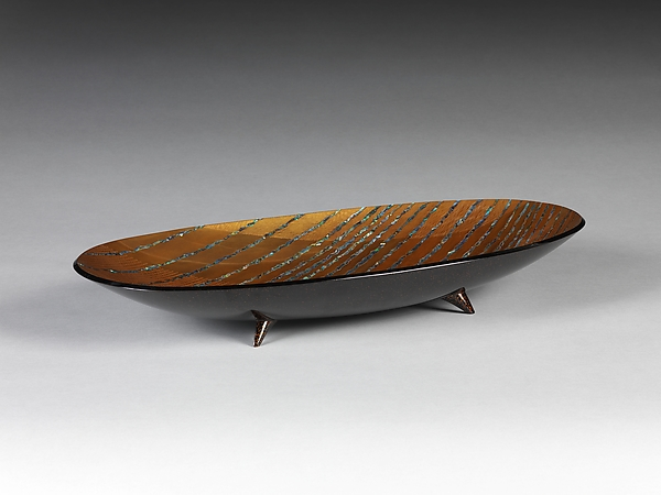 Footed Tray with Stylized Waves