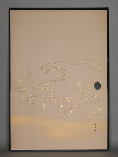 神坂雪佳筆 竹波図襖  <br/>Bamboo and Waves