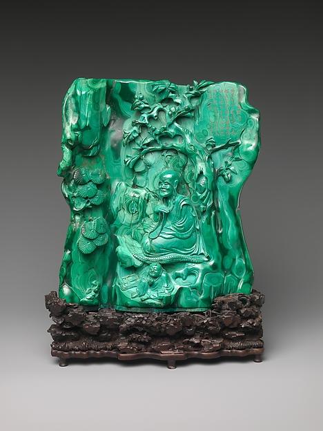 清中期 孔雀石羅漢山子<br/>Seated luohan (arhat) in a grotto