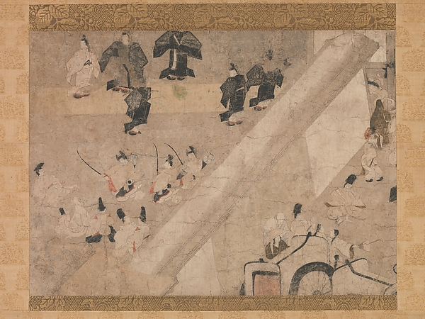 """Imperial Visit to the Great Horse Race at the Kaya-no-in Mansion"" (Kaya-no-in komakurabe gyōkō emaki), from the Tale of Flowering Fortunes (Eiga monogatari)"