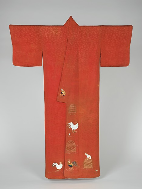 鶏柄小袖<br/>Kosode Robe with Roosters and Hens