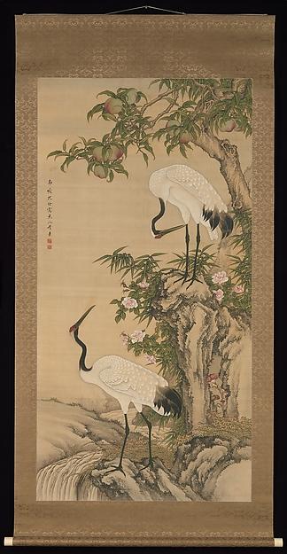 桃と月季花(長春花)に鶴図<br/>Cranes, Peach Tree, and Chinese Roses