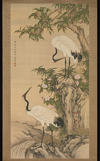 桃と月季花(長春花)に鶴図<br/>Cranes, Peach Tree, and Chinese Roses