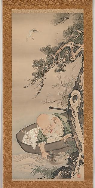曽我蕭白筆 寿老人図<br/>The God of Good Fortune Jurōjin