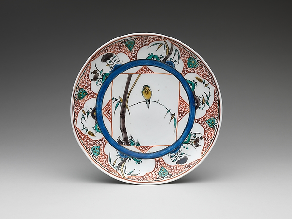 Dish with Bird on Bamboo