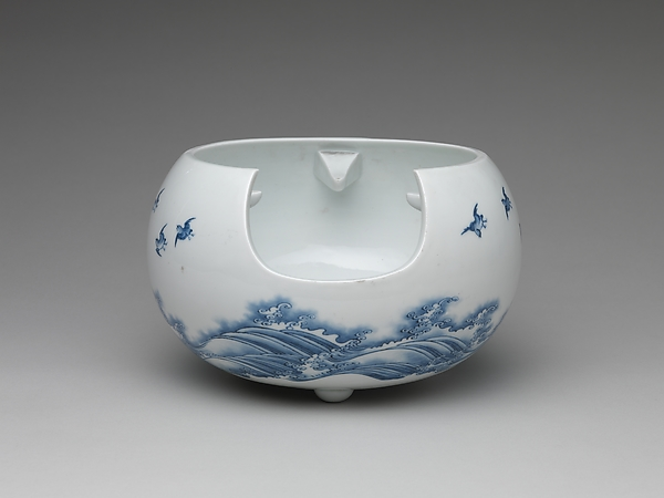 Teapot and Brazier with Design of Birds Flying over Waves