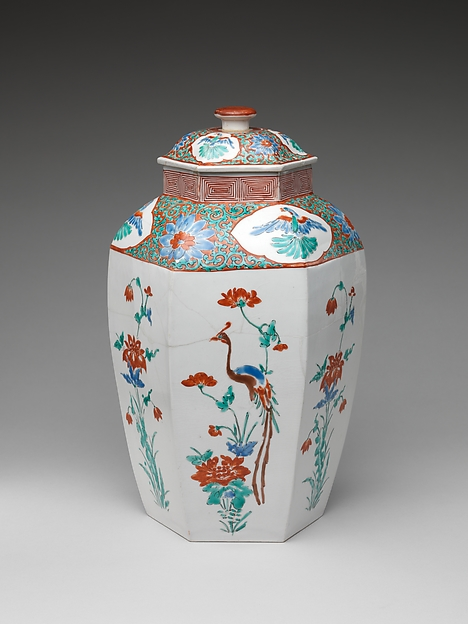色絵花鳥文八角大壺 