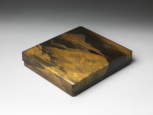富士飛雁蒔絵硯箱<br/>Box for Inkstone and Writing Implements (Suzuri-bako) with Geese against Mount Fuji in Moonlight and (inner lid) with Plovers by the Seashore