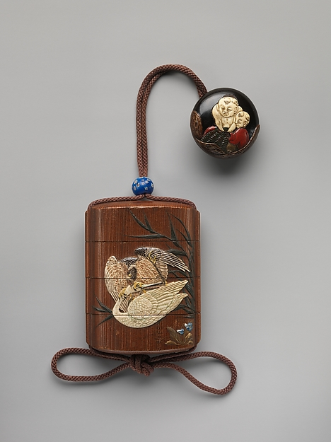 Case (Inrō) with Design of Heron in Flight and Flowering Plant (obverse); Hawk Attacking a Crane (reverse)