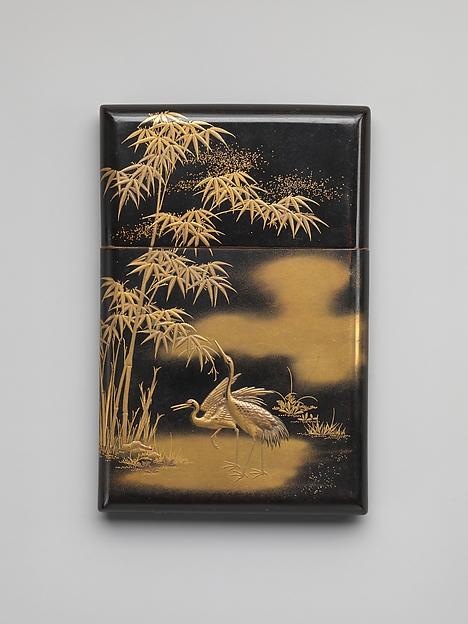 竹鶴蒔絵名刺入れ<br/>Card Case with Crane and Bamboo