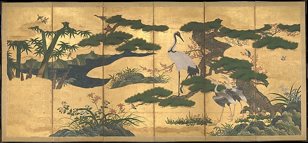 四季花鳥図屏風<br/>Birds and Flowers of the Four Seasons