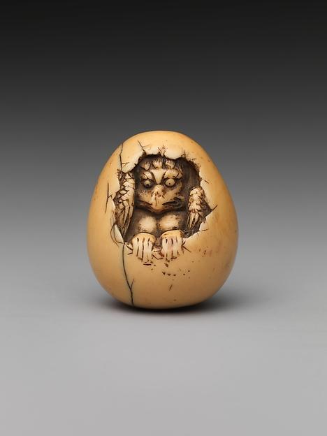 Netsuke of Bird in an Egg