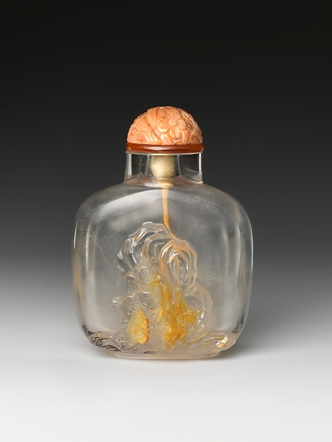 Snuff Bottle with Two Monkeys and Rock