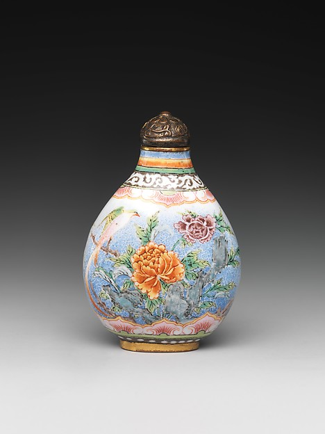 Snuff Bottle with Peony and Bird