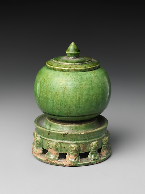 唐 綠釉陶罐<br/>Jar with Cover and Base