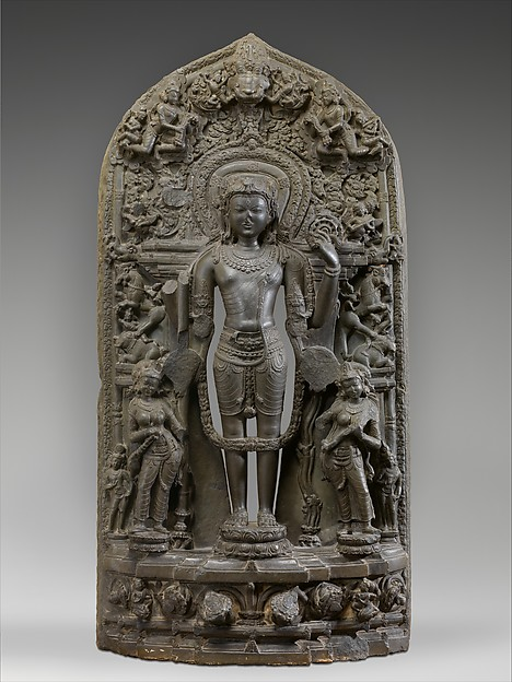 Vishnu Accompanied by Lakshmi and Sarasvati