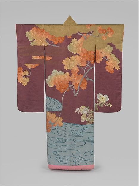 Outer Robe (Uchikake) with Maple Tree and River