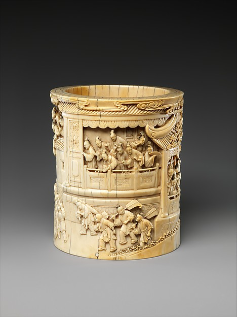 Brush holder with story of Pan Yue or Wei Jie