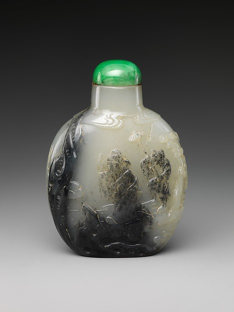 Snuff bottle with Mi Fu bowing to a rock