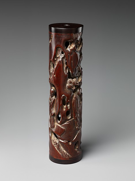 Incense holder with scholars in a landscape
