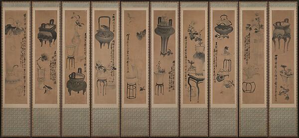 전(傳) 오원 장승업 (1843–1897) 청동기와 화초가 있는 정물화 조선<br/>傳 吾園 張承業 器皿折枝圖 朝鮮<br/>Still life with bronze vessels and flowering plants