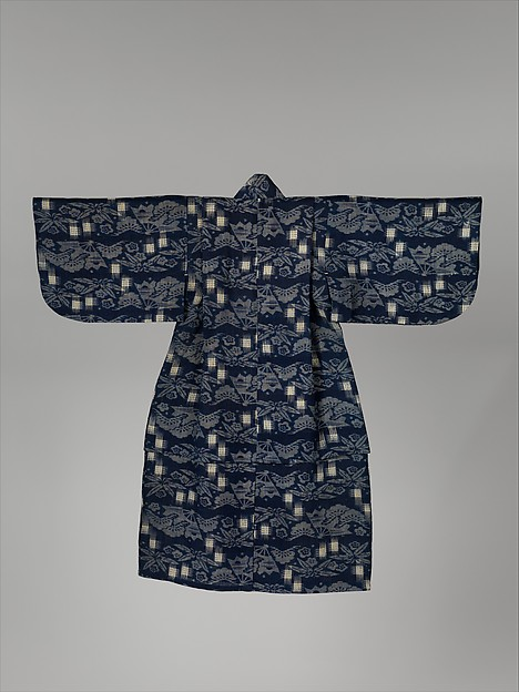 紺麻地松竹梅扇面模様子供用着物<br/>Child's Kimono with Pine, Bamboo, Plum Blossoms, and Fans