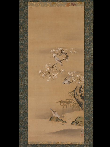 Waxwings, Cherry Blossoms, and Bamboo by a Stream