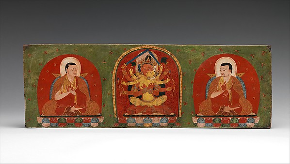 Interior of a Book Cover: Manjuvajra Embracing His Consort and Flanking Lamas