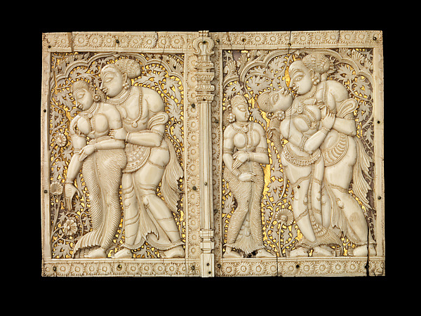 Two box panels with amorous couples