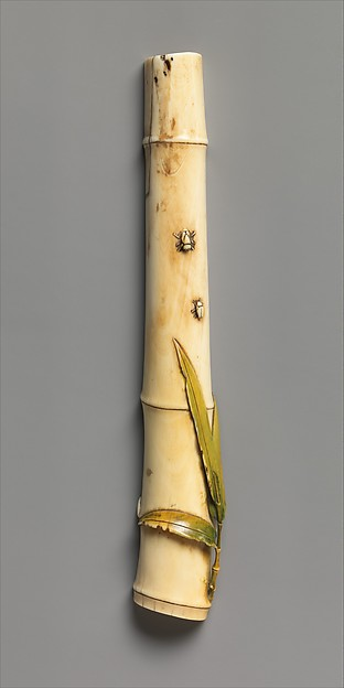 Brush Rest in Shape of Bamboo Stalk with Insects