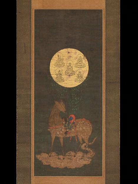 春日鹿曼荼羅 Deer Mandala of Kasuga Shrine Período: Nanbokuchō (1336–92)   Século XIV   Japão   (86.2 × 35.2 cm)