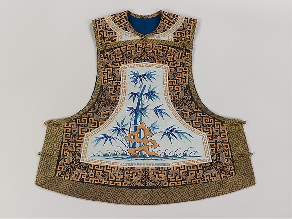 Woman's Sleeveless Jacket with Bamboo and Rock